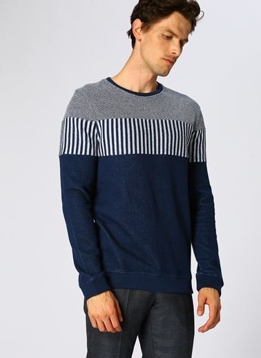 North Of Navy Çizgili Sweatshirt Lacivert